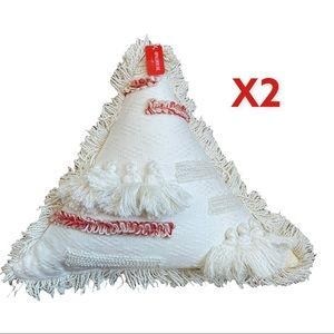 """OPALHOUSE Pair of Handcrafted Triangle Pillow 15"""" Ivory / Red / Orange"""
